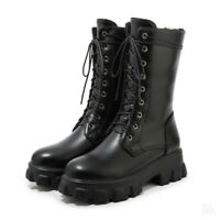 Women's Chunky Low Heel Ankle Boots Combat Biker Lace Ups Shoes Large Size 34-46