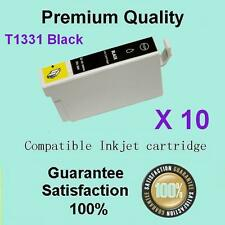 10 x GENERIC BLACK only Ink Cart T133 for Epson STYLUS N11 NX125 NX130 NX230