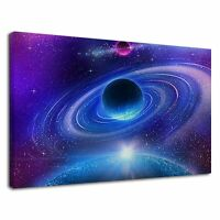Planet With Glowing Rings In Blue Purple Galaxy Canvas Wall Art Picture Print