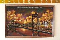 MID CENTURY MODERN NY BRIDGE CITYSCAPE ORIGINAL OIL PAINTING! 50S VTG VELVET ART