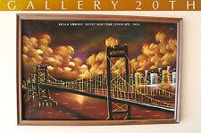 MID CENTURY MODERN NY BRIDGE CITYSCAPE ORIGINAL OIL PAINTING! 50'S VTG EAMES ART