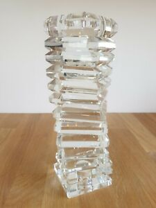 Tall Heavy Clear Glass Square Spiral Pillar Tea Light / Candle Holder - Art Deco