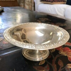 "Sterling Silver Weighted Compote Candy Dish Footed Bowl  6"" W 2.75"" Floral Trim"