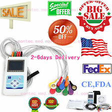 Portable 12-Channel 24H ECG EKG Holter Analyze System Recorder software Monitor