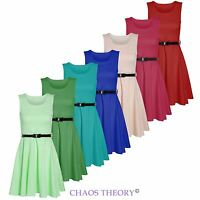 Womens Ladies Sleeveless Belted Skater Dress Flared Top Party Plus Sizes UK 8-26