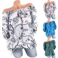 Womens Off Shoulder Floral Tops Ladies Summer Loose T Shirt Blouse Plus Size US