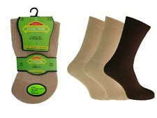3 Ladies Diabetic EXTRA-WIDE Cotton Rich Wider Top Socks UK 4-8 (Brown)