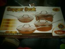 NEW COPPER COOK NON STICK COOKWARE SET 8 PIECE GLASS LIDS PANS & CHEF POTS BAKE