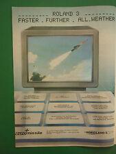 6/1985 PUB EUROMISSILE MISSILE AIR SOL ROLAND 3 AEROSPATIALE MBB ORIGINAL AD
