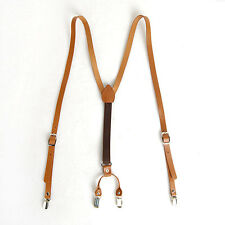 "Mens Leather Suspenders Y-Back Retro Braces Clip-On Camel Light Brown 40""-46"""