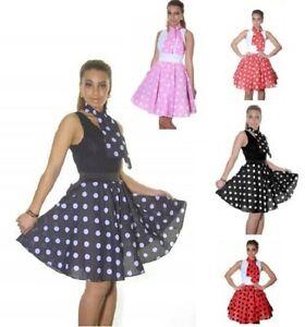 "Ladies Women Polka Dot Rock N Roll 50's Style Circular Poodle Skirt--Length 18"""