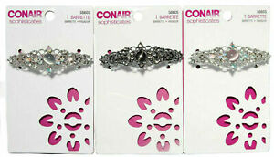 Conair Sophisticates Jeweled Barrette w/ Center Stone/Rhinestones #58605 3 Pack