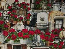 CATS IN WINDOW CAT LAWN ORNAMENTS ROSES COTTON FABRIC FQ