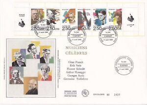 Enveloppe grand format 1er jour 1992 Musiciens Célèbres