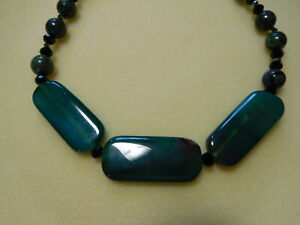 Green beads Green Agate bead necklace with Silver domes