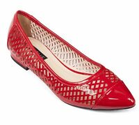 GIRLIE Glossy Patent Leather Ballerinas Flat Shoes Red/ White/ Black