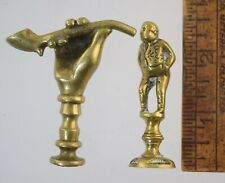 2 ANTIQUE ENGLISH BRASS PIPE TAMPERS HAND w/PIPE & DICKENS MAN