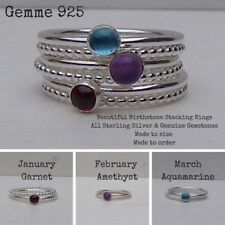Gorgeous Sterling Silver & March Aquamarine Birthstone Stacking Ring Set 2 Rings