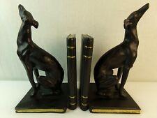 Greyhound Bookends Set Black Dog Lover Gift Book Ends