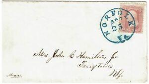 1860's Norfolk, VA cancel in blue on cover, 3c rose pink, Scott 64b, PSE cert