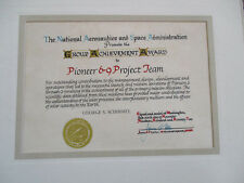 1972 NASA AMES Pioneer 6-9 Research Group Achievement Employee Award Certificate