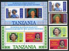 Tanzania 267-270,269a-270a S/S, MNH. Queen Mother Elizabeth, 85th Birthday,1985