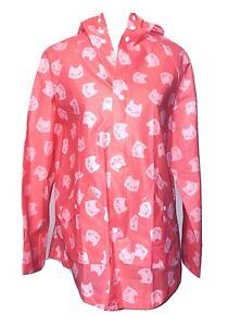 Cat Lady Box Lightweight Cat Faces Raincoat Slicker Rain Jacket Coat Pink Sz S/M