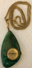 Vtg Trifari Necklace Pendant Watch Green Swirled Lucite Works 17J