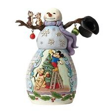 Jim Shore Heartwood Creek Christmas Snowman With Mickey Mouse & Pluto Scene