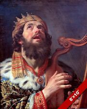 KING DAVID PLAYING HARP PSALMIST PAINTING CHRISTIAN BIBLE ART REAL CANVAS PRINT