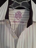 English Laundry Men's Button Down Long Sleeve Shirt Violet Purple Stripe 16 NICE