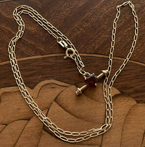 9ct Gold T Bar and Heart Chain Necklace 18 Inch 450mm 2.9 Grams Hallmarked Nice