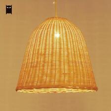 Wicker Rattan Shade Pendant Light Fixture Rustic Hanging Ceiling Lamp Restaurant