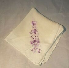 Vintage Ladies Handkerchief White Purple Embroidery 12 x 12""