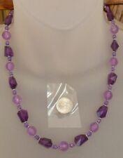 "HANDMADE Beaded Purple Lilac NECKLACE Round & Irregular Facet; Seedbeads  18"""