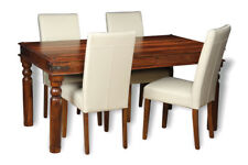 DINING ROOM FURNITURE JALI 160CM TABLE & 4 LEATHER CHAIRS (3 STYLES) (J41)