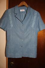Le Mode Women's Short Sleeve Button Front Blue Blouse Size Medium