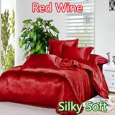 King Single Luxury Satin Fitted Flat Pillowcase Sheet Set Red Wine RRP $157