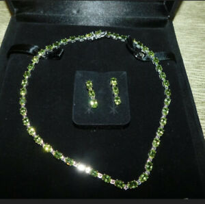 """Oval Peridot Sterling Silver 17-1/4"""" Tennis Necklace with Matching Earrings"""