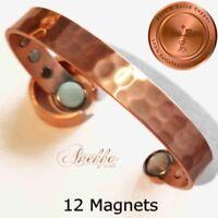 PURE SOLID COPPER HAMMERED 12 MAGNETS MAGNETIC BANGLE BRACELET ARTHRITIS CB46B