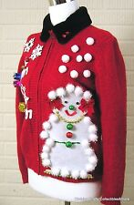 Red Ugly Christmas Sweater Petite Large Embellished Snowman Reindeer Full Zip