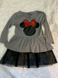 Disney Girls Medium Sparkle Tulle Minnie Mouse Long Sleeve Tunic Top Grey Black