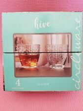 Circleware Hive Double Old Fashion Whiskey or Drinking Glasses Set of 4