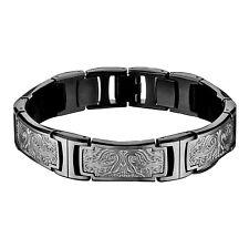 """Hollis Bahringer Stainless Steel Bold Carved Ornate Mens Link Bracelet 8.5"""""""