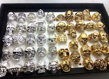 50pcs Skull Gothic Ring Silver Gold Biker Rocker Style Ring Boy Men Jewelry Gift