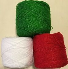 Lace yarn Crystal ColorsG/W/R Acrylic Rayon.900 yards per ball.1 lot of 3 Balls.