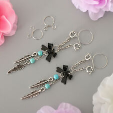 On Fake Non Pierce Nipple Rings 2pcs Boho Butterfly Turquoise Feathers Clip