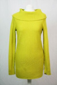 Yellow Silver Metallic Thread Sparkle Long Sleeve Cowl Neck Jumper S 8-10