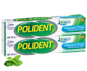 2x60g Polident Denture Adhesive Cream Extra Bite Force & Extra Hold Flavour Free