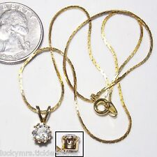 Crystal Solitaire Necklace, Sparkly Pendant w/Split Bail, Cobra Chain, Goldtone